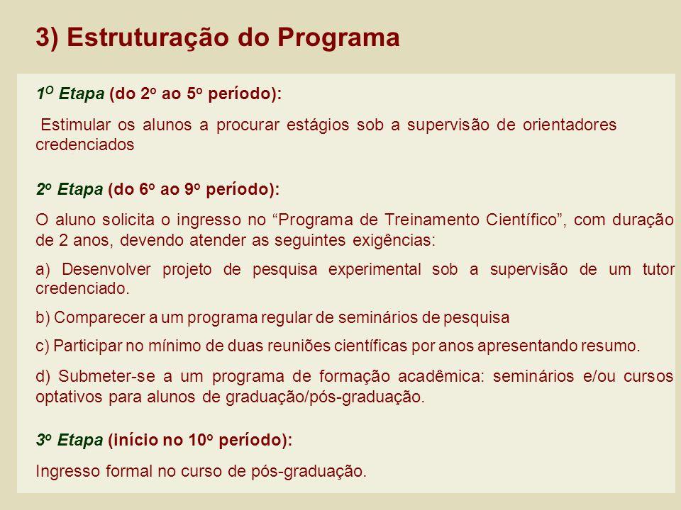 3) Estruturação do Programa 2 o Etapa (do 6 o ao 9 o período): O aluno solicita o ingresso no Programa de Treinamento Científico, com duração de 2 ano