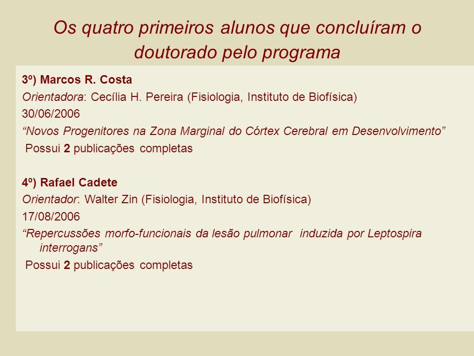 Os quatro primeiros alunos que concluíram o doutorado pelo programa 3º) Marcos R. Costa Orientadora: Cecília H. Pereira (Fisiologia, Instituto de Biof
