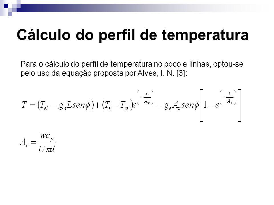 Cálculo do perfil de temperatura Para o cálculo do perfil de temperatura no poço e linhas, optou-se pelo uso da equação proposta por Alves, I. N. [3]: