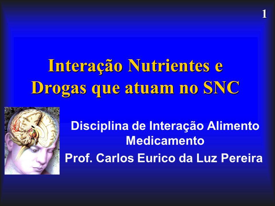 1 Interação Nutrientes e Drogas que atuam no SNC Disciplina de Interação Alimento Medicamento Prof. Carlos Eurico da Luz Pereira