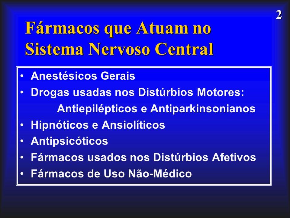 2 Fármacos que Atuam no Sistema Nervoso Central Anestésicos Gerais Drogas usadas nos Distúrbios Motores: Antiepilépticos e Antiparkinsonianos Hipnótic