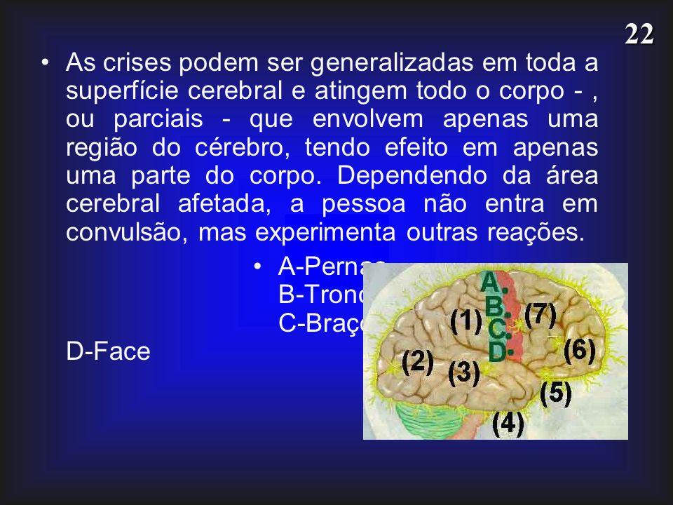 22 As crises podem ser generalizadas em toda a superfície cerebral e atingem todo o corpo -, ou parciais - que envolvem apenas uma região do cérebro,
