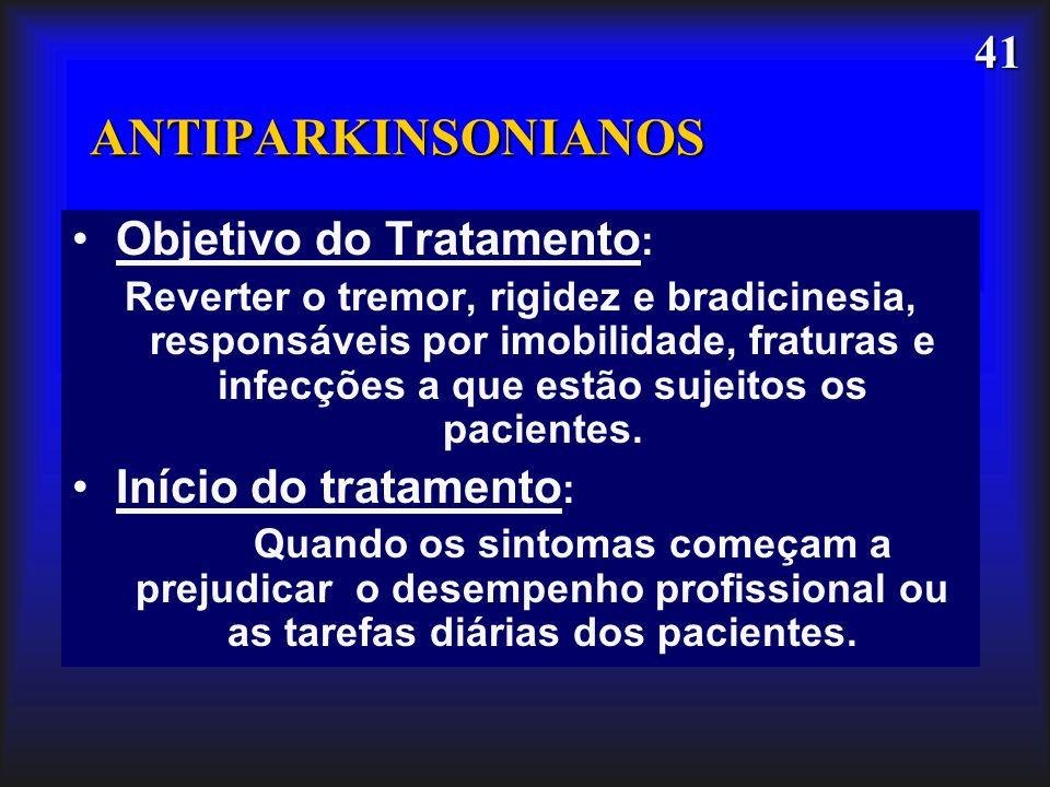 41 ANTIPARKINSONIANOS Objetivo do Tratamento : Reverter o tremor, rigidez e bradicinesia, responsáveis por imobilidade, fraturas e infecções a que est