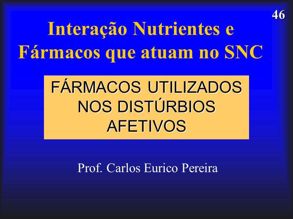 46 Interação Nutrientes e Fármacos que atuam no SNC FÁRMACOS UTILIZADOS NOS DISTÚRBIOS AFETIVOS Prof. Carlos Eurico Pereira