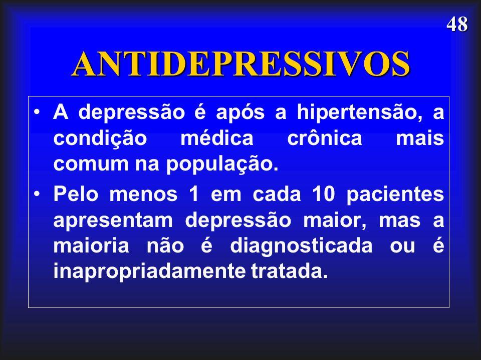48 ANTIDEPRESSIVOS A depressão é após a hipertensão, a condição médica crônica mais comum na população. Pelo menos 1 em cada 10 pacientes apresentam d