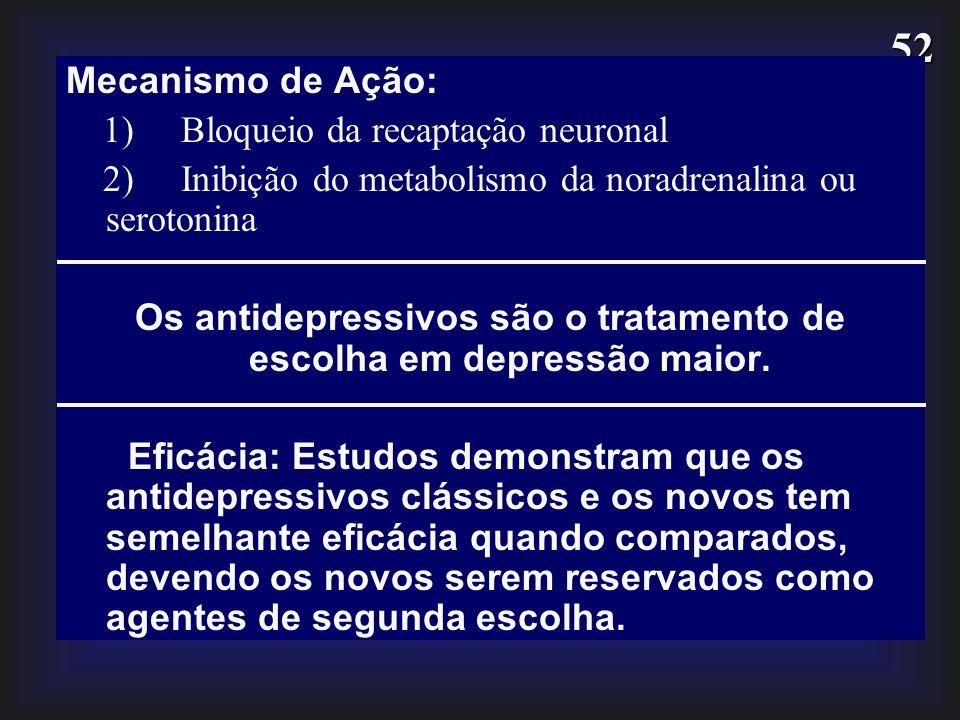 52 Mecanismo de Ação: 1) Bloqueio da recaptação neuronal 2) Inibição do metabolismo da noradrenalina ou serotonina Os antidepressivos são o tratamento