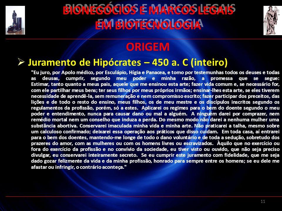 11 BIONEGÓCIOS E MARCOS LEGAIS EM BIOTECNOLOGIA ORIGEM Juramento de Hipócrates – 450 a. C (inteiro)