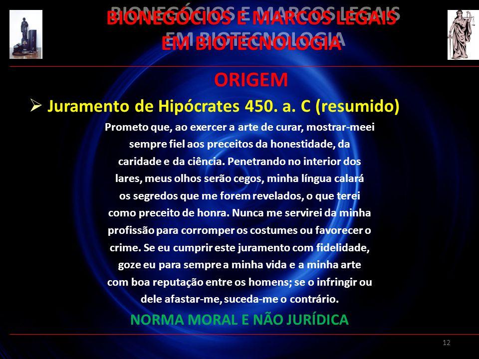 12 BIONEGÓCIOS E MARCOS LEGAIS EM BIOTECNOLOGIA ORIGEM Juramento de Hipócrates 450. a. C (resumido) Prometo que, ao exercer a arte de curar, mostrar-m
