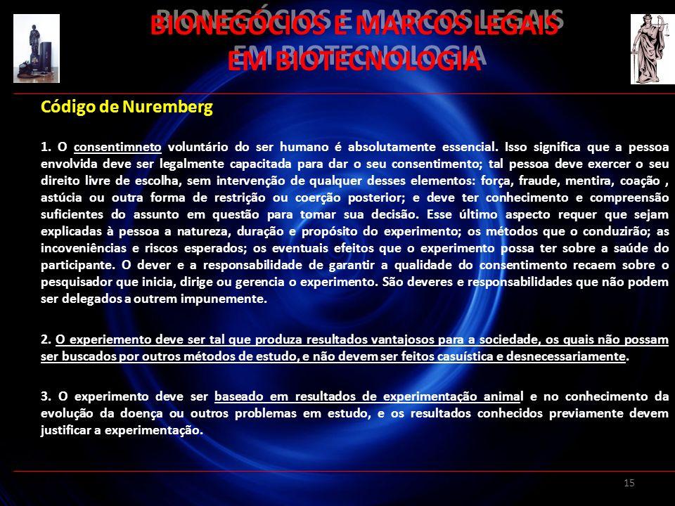 15 BIONEGÓCIOS E MARCOS LEGAIS EM BIOTECNOLOGIA Código de Nuremberg 1. O consentimneto voluntário do ser humano é absolutamente essencial. Isso signif
