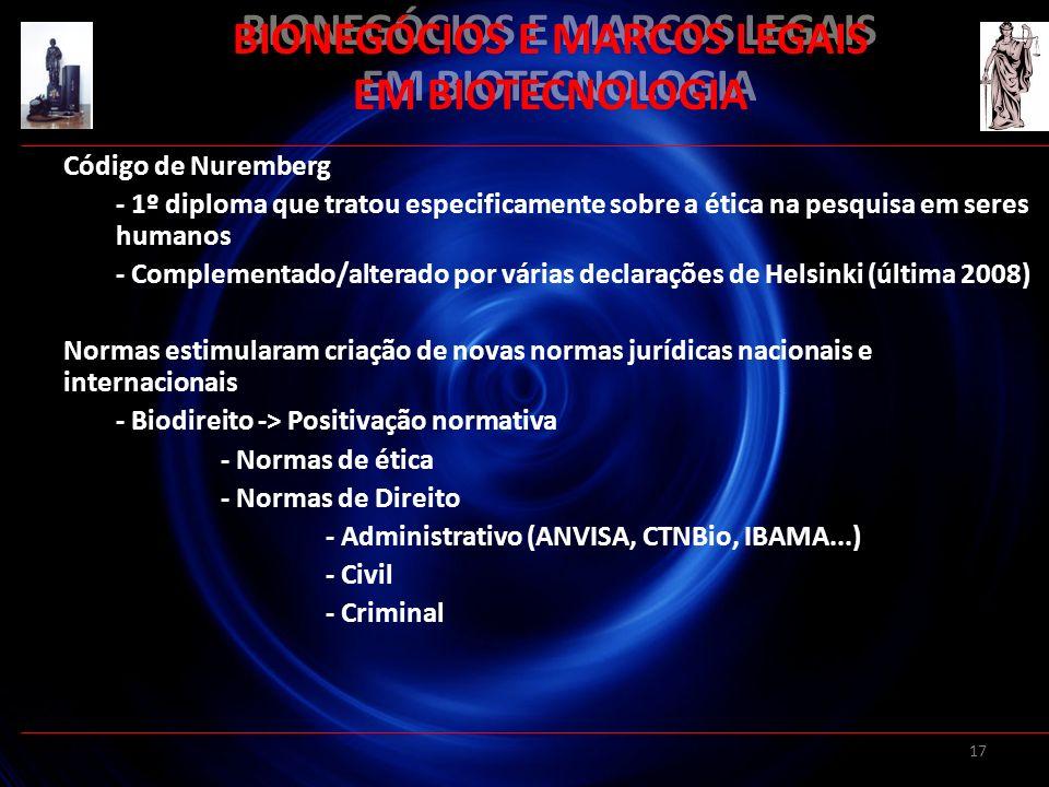 17 BIONEGÓCIOS E MARCOS LEGAIS EM BIOTECNOLOGIA Código de Nuremberg - 1º diploma que tratou especificamente sobre a ética na pesquisa em seres humanos