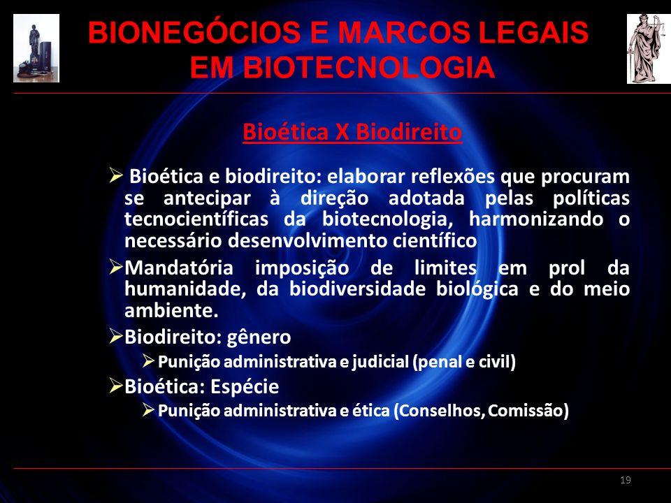 19 Bioética X Biodireito Bioética e biodireito: elaborar reflexões que procuram se antecipar à direção adotada pelas políticas tecnocientíficas da bio