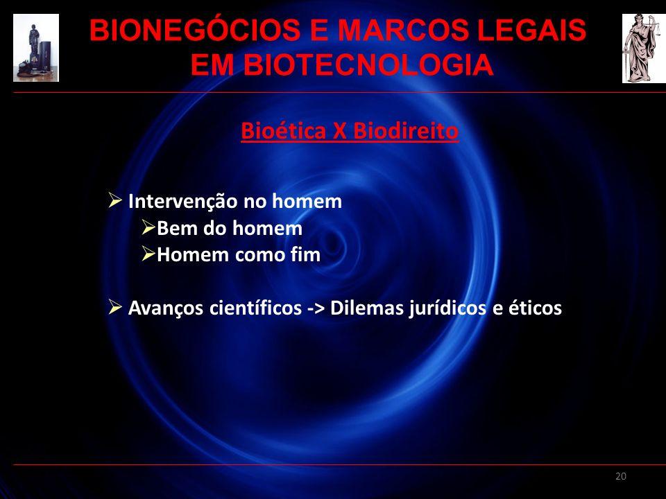 20 Bioética X Biodireito Intervenção no homem Bem do homem Homem como fim Avanços científicos -> Dilemas jurídicos e éticos BIONEGÓCIOS E MARCOS LEGAI