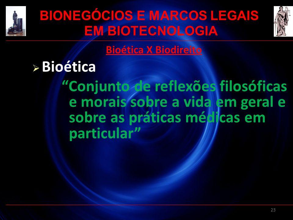 23 Bioética X Biodireito Bioética Conjunto de reflexões filosóficas e morais sobre a vida em geral e sobre as práticas médicas em particular BIONEGÓCI