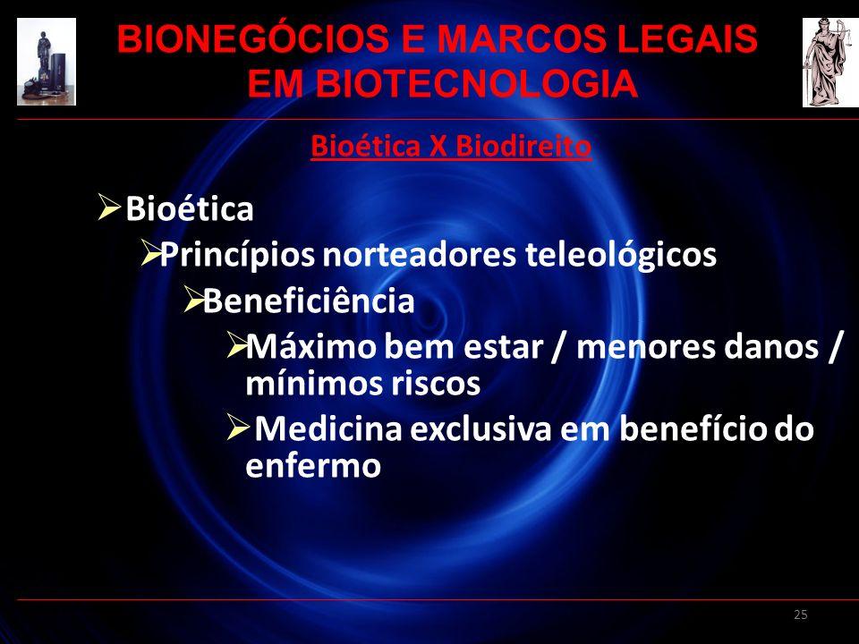 25 Bioética X Biodireito Bioética Princípios norteadores teleológicos Beneficiência Máximo bem estar / menores danos / mínimos riscos Medicina exclusi
