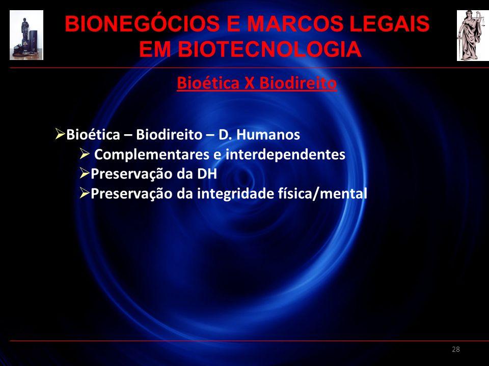 28 Bioética X Biodireito Bioética – Biodireito – D. Humanos Complementares e interdependentes Preservação da DH Preservação da integridade física/ment