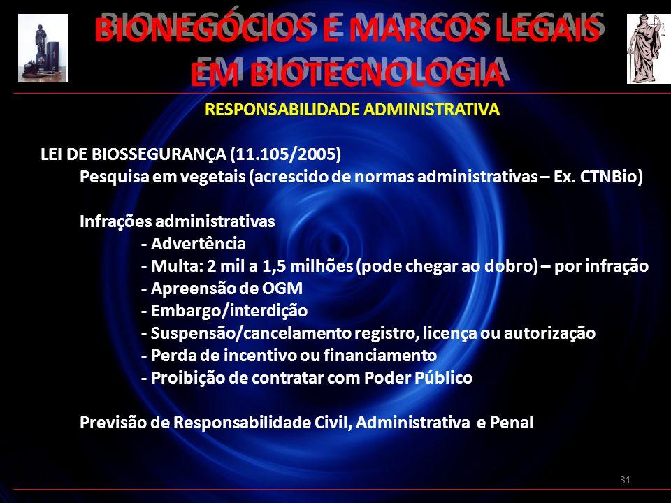 31 BIONEGÓCIOS E MARCOS LEGAIS EM BIOTECNOLOGIA RESPONSABILIDADE ADMINISTRATIVA LEI DE BIOSSEGURANÇA (11.105/2005) Pesquisa em vegetais (acrescido de