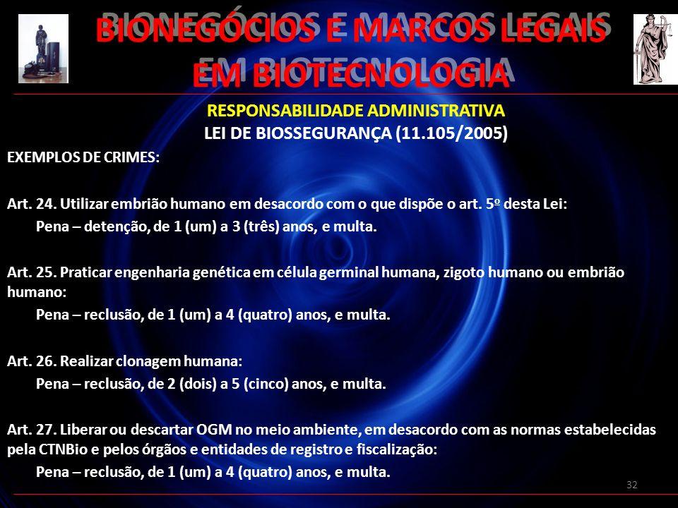 32 BIONEGÓCIOS E MARCOS LEGAIS EM BIOTECNOLOGIA RESPONSABILIDADE ADMINISTRATIVA LEI DE BIOSSEGURANÇA (11.105/2005) EXEMPLOS DE CRIMES: Art. 24. Utiliz