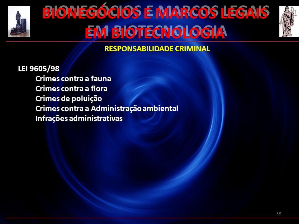 33 BIONEGÓCIOS E MARCOS LEGAIS EM BIOTECNOLOGIA RESPONSABILIDADE CRIMINAL LEI 9605/98 Crimes contra a fauna Crimes contra a flora Crimes de poluição C
