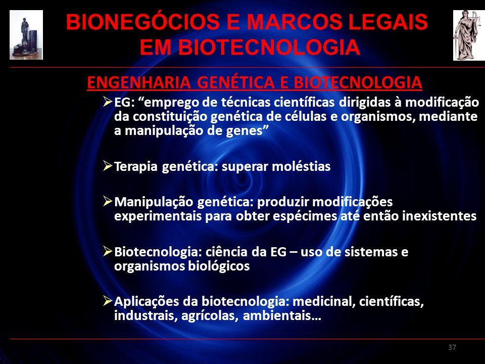 37 ENGENHARIA GENÉTICA E BIOTECNOLOGIA EG: emprego de técnicas científicas dirigidas à modificação da constituição genética de células e organismos, m