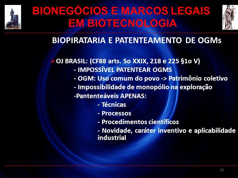 42 BIOPIRATARIA E PATENTEAMENTO DE OGMs OJ BRASIL: (CF88 arts. 5o XXIX, 218 e 225 §1o V) - IMPOSSÍVEL PATENTEAR OGMS - OGM: Uso comum do povo -> Patri