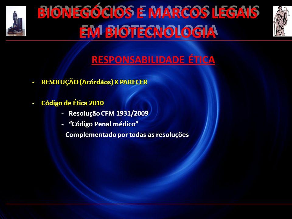 BIONEGÓCIOS E MARCOS LEGAIS EM BIOTECNOLOGIA RESPONSABILIDADE ÉTICA -RESOLUÇÃO (Acórdãos) X PARECER -Código de Ética 2010 -Resolução CFM 1931/2009 -Có