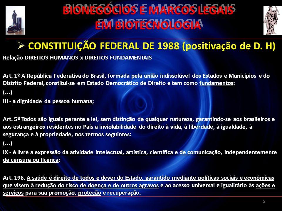5 BIONEGÓCIOS E MARCOS LEGAIS EM BIOTECNOLOGIA CONSTITUIÇÃO FEDERAL DE 1988 (positivação de D. H) Relação DIREITOS HUMANOS x DIREITOS FUNDAMENTAIS Art