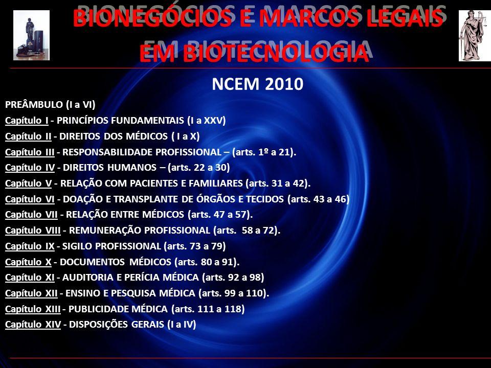 52 BIONEGÓCIOS E MARCOS LEGAIS EM BIOTECNOLOGIA NCEM 2010 PREÂMBULO (I a VI) Capítulo I - PRINCÍPIOS FUNDAMENTAIS (I a XXV) Capítulo II - DIREITOS DOS