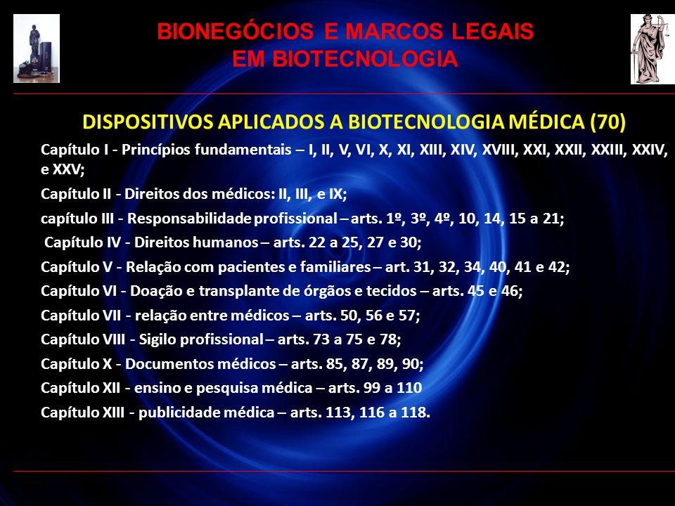 DISPOSITIVOS APLICADOS A BIOTECNOLOGIA MÉDICA (70) Capítulo I - Princípios fundamentais – I, II, V, VI, X, XI, XIII, XIV, XVIII, XXI, XXII, XXIII, XXI