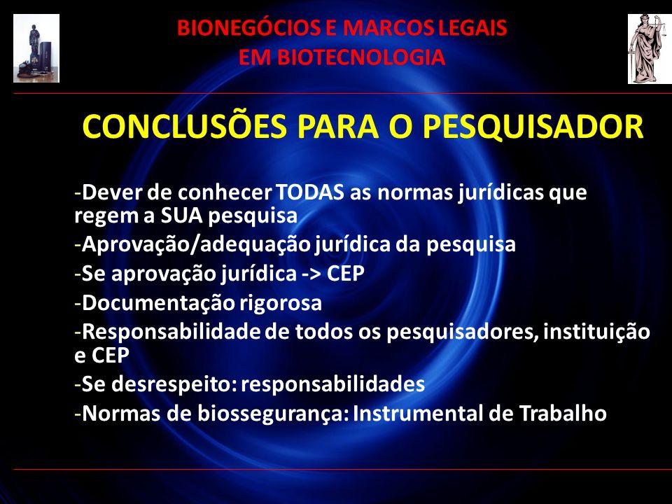 CONCLUSÕES PARA O PESQUISADOR -Dever de conhecer TODAS as normas jurídicas que regem a SUA pesquisa -Aprovação/adequação jurídica da pesquisa -Se apro