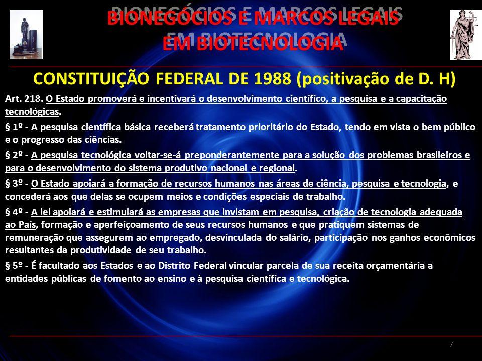 7 BIONEGÓCIOS E MARCOS LEGAIS EM BIOTECNOLOGIA CONSTITUIÇÃO FEDERAL DE 1988 (positivação de D. H) Art. 218. O Estado promoverá e incentivará o desenvo