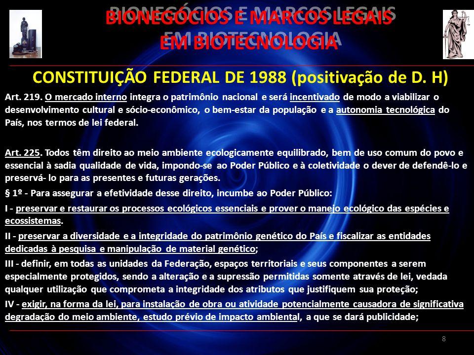 8 BIONEGÓCIOS E MARCOS LEGAIS EM BIOTECNOLOGIA CONSTITUIÇÃO FEDERAL DE 1988 (positivação de D. H) Art. 219. O mercado interno integra o patrimônio nac