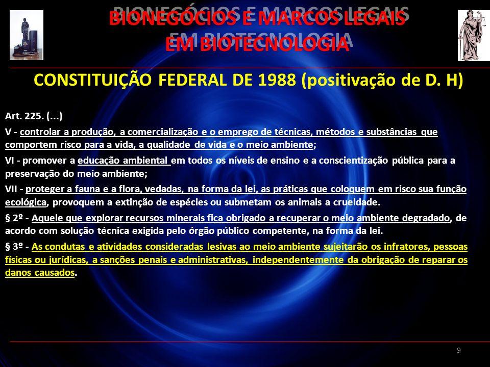 9 BIONEGÓCIOS E MARCOS LEGAIS EM BIOTECNOLOGIA CONSTITUIÇÃO FEDERAL DE 1988 (positivação de D. H) Art. 225. (...) V - controlar a produção, a comercia