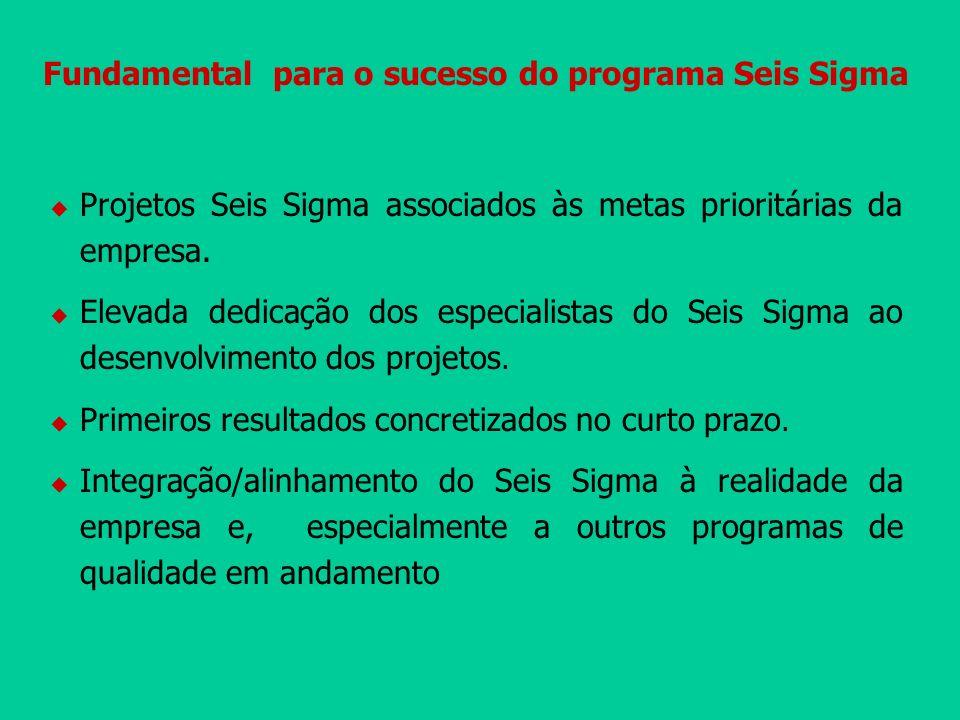 Fundamental para o sucesso do programa Seis Sigma Projetos Seis Sigma associados às metas prioritárias da empresa. Elevada dedicação dos especialistas