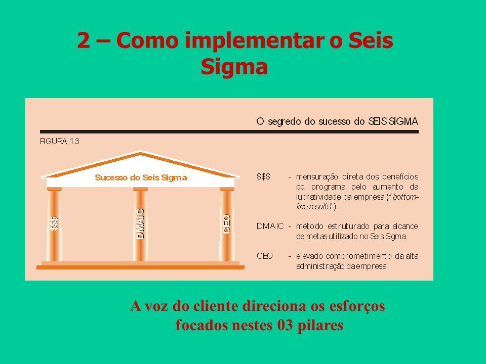 2 – Como implementar o Seis Sigma A voz do cliente direciona os esforços focados nestes 03 pilares