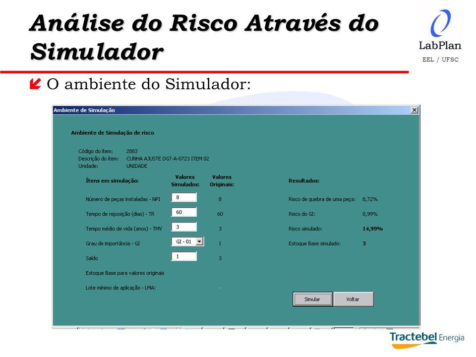 EEL / UFSC Análise do Risco Através do Simulador íO ambiente do Simulador: