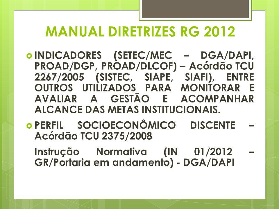 MANUAL DIRETRIZES RG 2012 INDICADORES (SETEC/MEC – DGA/DAPI, PROAD/DGP, PROAD/DLCOF) – Acórdão TCU 2267/2005 (SISTEC, SIAPE, SIAFI), ENTRE OUTROS UTIL