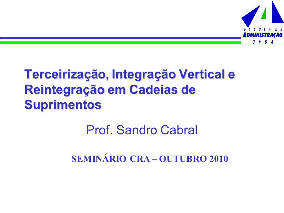 Terceirização, Integração Vertical e Reintegração em Cadeias de Suprimentos Prof. Sandro Cabral SEMINÁRIO CRA – OUTUBRO 2010