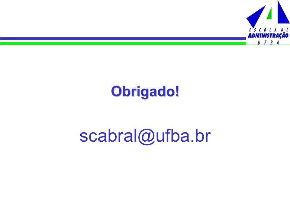 Obrigado! scabral@ufba.br