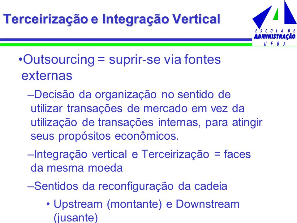 Outsourcing = suprir-se via fontes externas –Decisão da organização no sentido de utilizar transações de mercado em vez da utilização de transações in