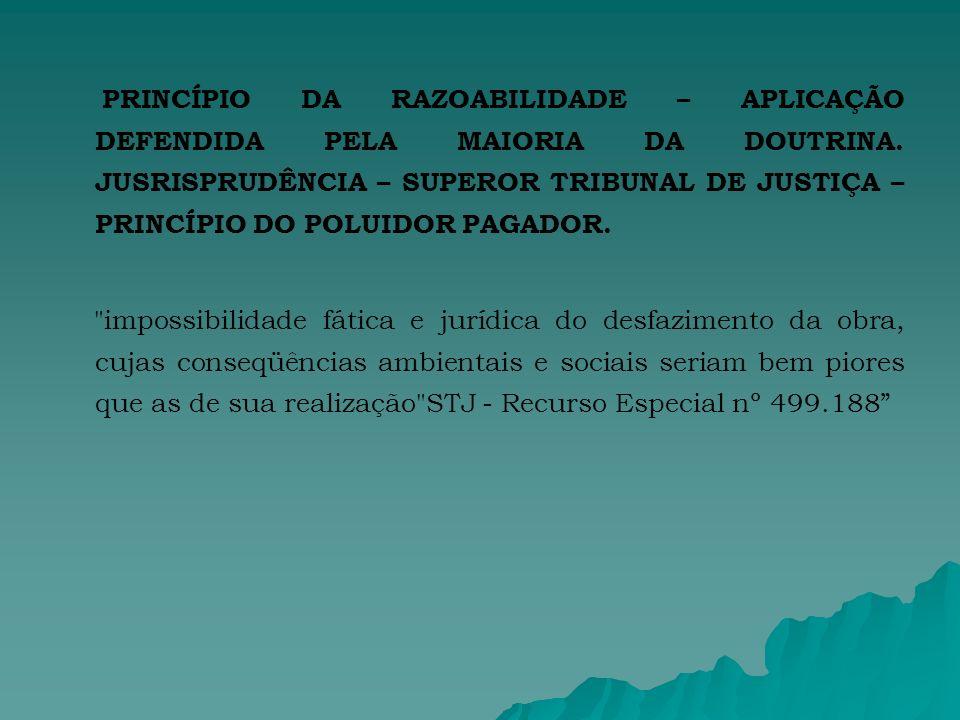 PRINCÍPIO DA RAZOABILIDADE – APLICAÇÃO DEFENDIDA PELA MAIORIA DA DOUTRINA.
