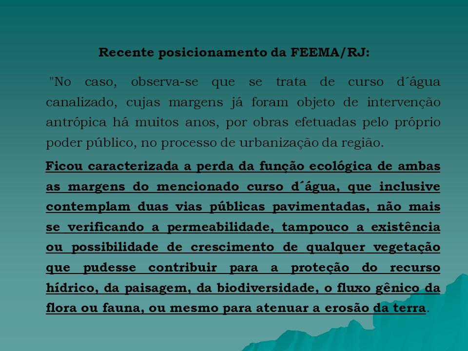 Recente posicionamento da FEEMA/RJ: No caso, observa-se que se trata de curso d´água canalizado, cujas margens já foram objeto de intervenção antrópica há muitos anos, por obras efetuadas pelo próprio poder público, no processo de urbanização da região.