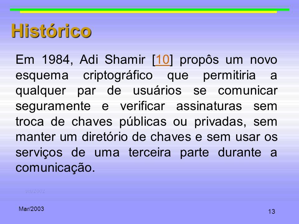 Mar/2003 13 Histórico Em 1984, Adi Shamir [10] propôs um novo esquema criptográfico que permitiria a qualquer par de usuários se comunicar seguramente