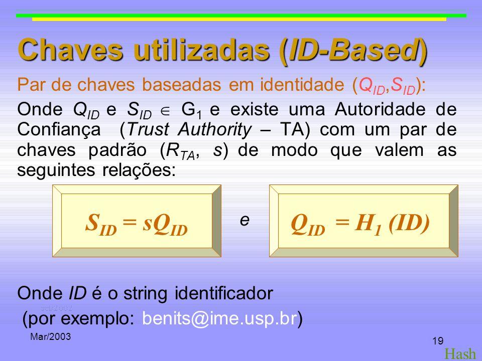 Mar/2003 19 Chaves utilizadas (ID-Based) Par de chaves baseadas em identidade (Q ID,S ID ): Onde Q ID e S ID G 1 e existe uma Autoridade de Confiança