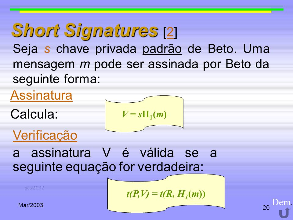 Mar/2003 20 Short Signatures Short Signatures [2]2 Seja s chave privada padrão de Beto. Uma mensagem m pode ser assinada por Beto da seguinte forma: V