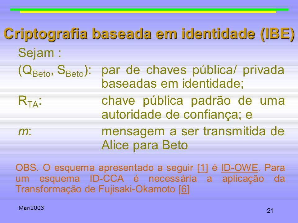 Mar/2003 21 Criptografia baseada em identidade (IBE) Sejam : (Q Beto, S Beto ):par de chaves pública/ privada baseadas em identidade; R TA :chave públ