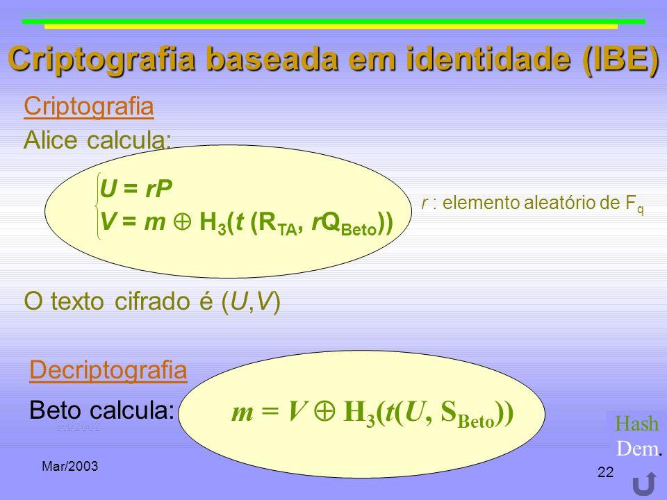 Mar/2003 22 Criptografia baseada em identidade (IBE) Criptografia Alice calcula: r : elemento aleatório de F q O texto cifrado é (U,V) U = rP V = m H