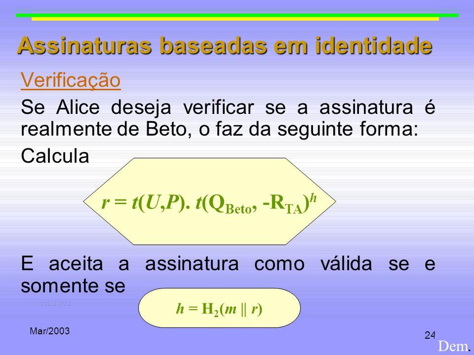 Mar/2003 24 Assinaturas baseadas em identidade Verificação Se Alice deseja verificar se a assinatura é realmente de Beto, o faz da seguinte forma: Cal