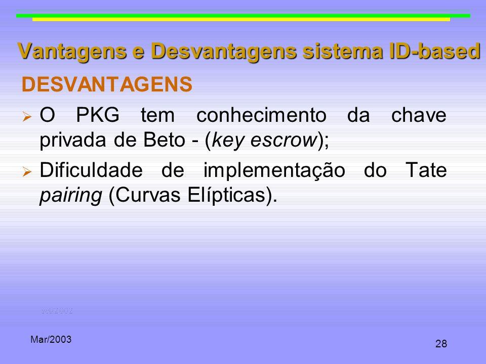Mar/2003 28 Vantagens e Desvantagens sistema ID-based DESVANTAGENS O PKG tem conhecimento da chave privada de Beto - (key escrow); Dificuldade de impl