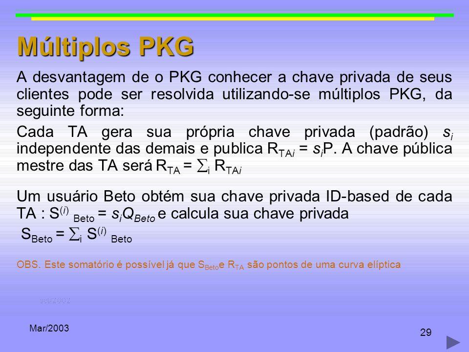 Mar/2003 29 Múltiplos PKG A desvantagem de o PKG conhecer a chave privada de seus clientes pode ser resolvida utilizando-se múltiplos PKG, da seguinte