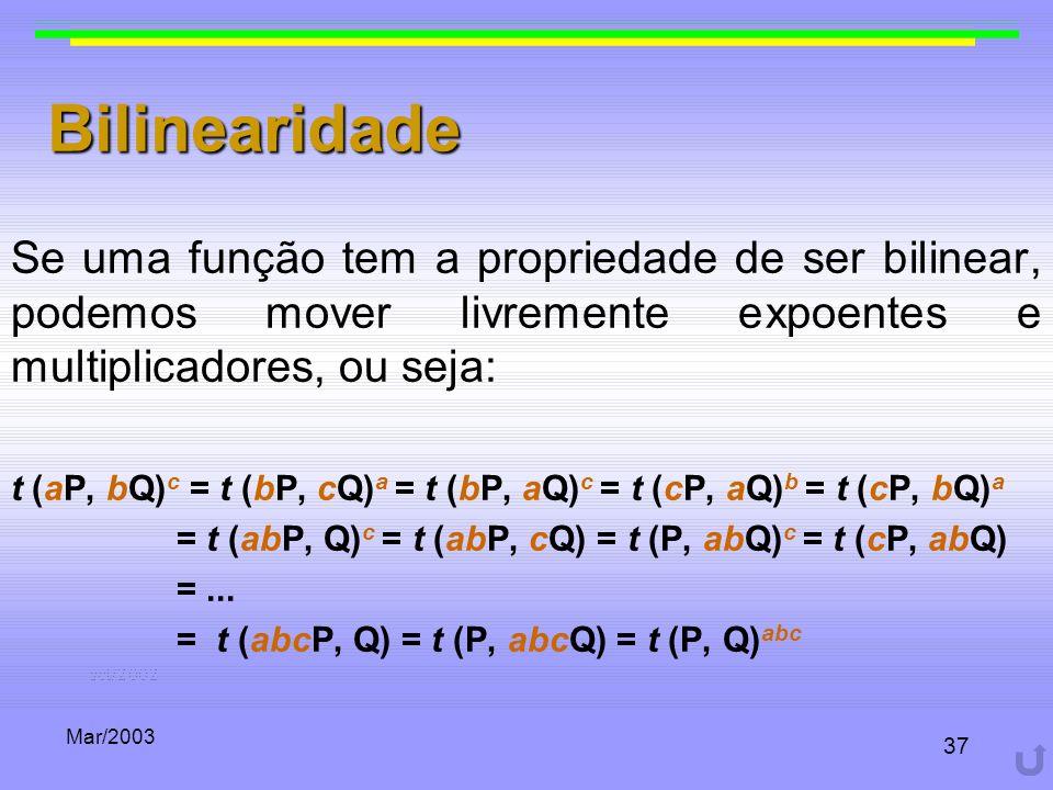Mar/2003 37 Bilinearidade Se uma função tem a propriedade de ser bilinear, podemos mover livremente expoentes e multiplicadores, ou seja: t (aP, bQ) c